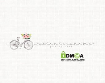 vintage bicycle logo photography logo premade logo design watercolor logo bespoke logo watercolour logo photographers logo watermark