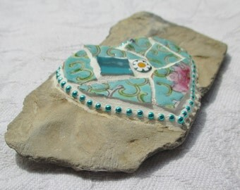 Green Heart Mosaic Stone, Turquoise