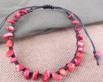 Casual Strand Red Coral Chip Stone Bracelet