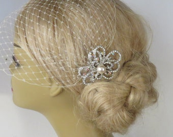 Birdcage Veil and a Bridal Hair Comb (2 Items),bridal veil,Weddings, Jewelry, Sterling Silver, Rinestone, Crystal,pearl