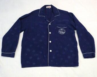 Navy Chinese Pajamas Top Vintage Navy Embroidered China Shirt Asian Landscape Loungewear Made in China Longevity Size Medium 1960s