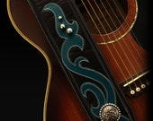 Black Guitar Strap, Leather Guitar Strap:  Del Rey Guitar Strap