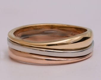 Tricolor Wedding Band, Unique wedding band, Wedding Ring , Wedding Band , Men's Ring, unique wedding band, wave ring, wave band