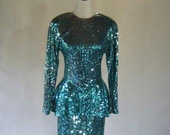 Turquoise Para Peplum Sequin Dress Mermaid