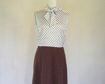 1960s Brown & White Polka Dot Secretary Dress