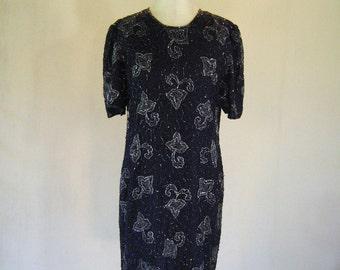 Dark Blue Swirly Paisley Beaded Dress Glam