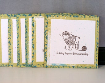 Handmade knitting tags for gift giving or notes, Sheep knitting tags set of 6, Hand stamped knitting tags featuring a sheep