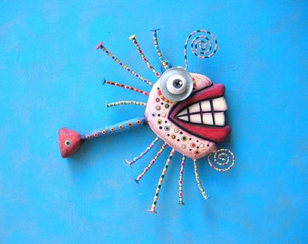 Crazy Clown Fish, Found Object Wall Sculpture, Wood Carving, Wall Decor, Animal Sculpture, Figure Sculpture, Abstract Sculpture