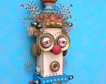 Whistler's Brother, Original Found Object Wall Sculpture, Figure Sculpture, Assemblage Art, Wall Decor, by Fig Jam Studio