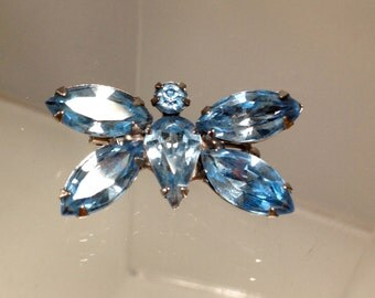 VIntage Butterfly Rhinestone Brooch USA Pat 2066969 Something Blue Old Rare Beauty