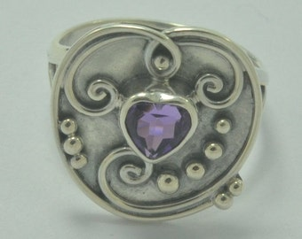 Sz 8 Handmade Bali Amethyst 925 Sterling Silver Jewelry Ring E844