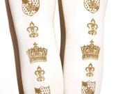 L Crown Printed Tights Large Gold on White Shield Medieval Fleur De Lys Gothic Lolita Classical Himegyaru Dolly Kei