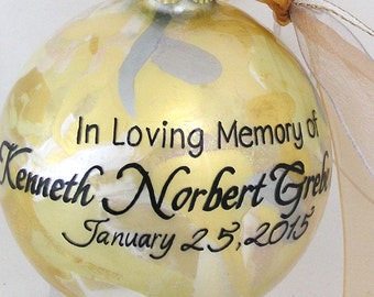 IN LOVING MEMORY Personalized Glass Keepsake Ornament Gift