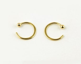 Tiny Hugging Hoops, Gold Plated Earrings, Simple Hug Earrings, Small Ball Hoops, Minimalist Jewelry, Hand Made, Gift, EAR026