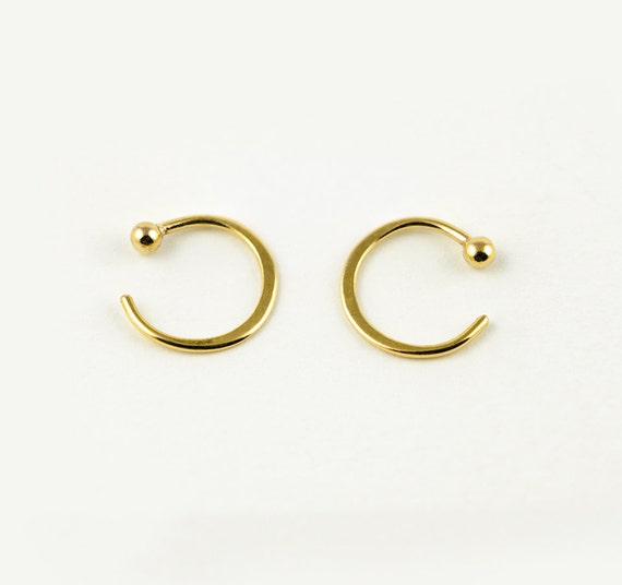 Tiny Hugging Hoops Gold Plated Earrings Simple Hug Earrings