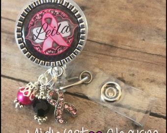 breast cancer awareness ribbon badge reel...Personalized retractable badge reel teacher nurse..id badge...nursing..monogrammed badge holder