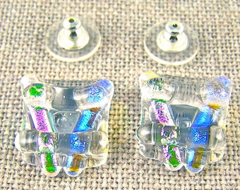 Dichroic Earrings - Blue & Pink Ice Chunky Square Post or Clip-On - Clear Teal Magenta Moonstone Opal Shine - 3/4' 2cm