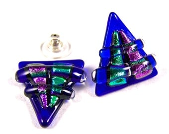 """Dichroic Earrings - Cobalt Sapphire Navy Blue Green Magenta Pink Chunky Triangle Fused Glass Surgical Steel Stud Post or Clip On Large 3/4"""""""