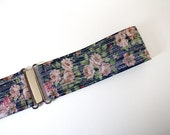 "Womens floral belt - 2"" navy, pink and silver elastic belt"