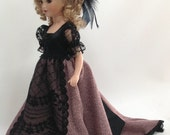 Black Mauve Fashion Doll Dress 15 inch fits Eve by artists Bunny Morris and Paul Johnson Porcelain Doll