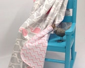 Ultra Soft Minky Grey Pink White Soft Whale Pront Baby Blanket