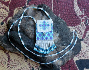 Southwestern style beaded necklace with amulet/medicine bag