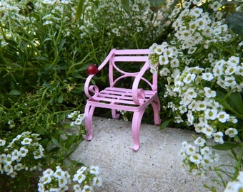 Fairy garden Furniture Miniature Chair with ladybug Bright Pink  Fairy Chair Fairy Accessories Terrarium Accessorie