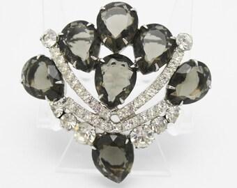 Juliana Vintage Black Diamond Rhinestone Brooch