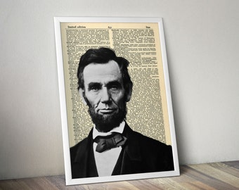 Abraham Lincoln Art Print President Abe Wall Decor Prints Poster Photo Photography Vintage Dictionary Page Instant Download Downloadable