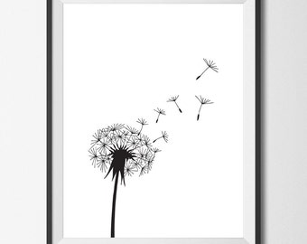 Dandelion Print Dandelion Art Black and White Art Blowing Dandelions Digital Downloadable Art Poster Picture Wall Decor Modern Minimalist