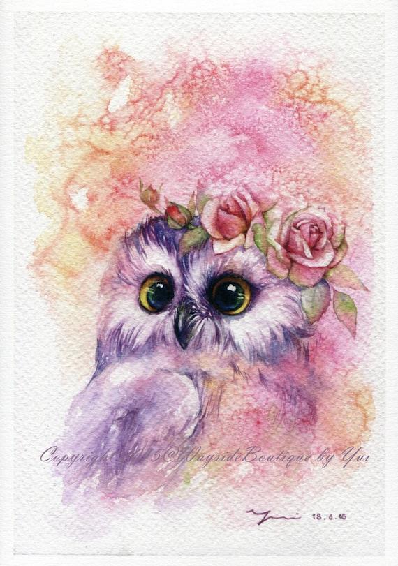 Print Sweetie Owl Watercolor Painting 7 5 X 11
