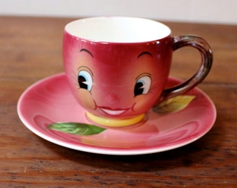 Anthropomorphic Vintage Red Apple Cup & Saucer. PY, Japan