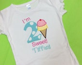 Girls Ice Cream Birthday T Shirt Bib Bodysuit  Personalized Applique ANY NUMBER Ruffle Tee You Design Boys