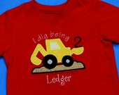 "I Dig Being"" Constuction Digger Birthday T Shirt Boys Backhoe ANY NUMBER Personalized Applique Toddler 1st 2nd 3rd Summer"