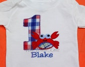 Preppy Crab Personalized Birthday T Shirt Boys Girls Applique Ocean Pool Party Beach Toddler 1st 2nd 3rd