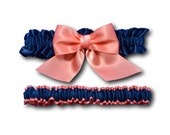 Wedding garters - bridal garters - navy blue garters with big coral bow - satin garters - prom garters - coral garters - navy blue garters