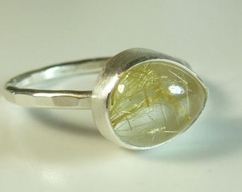 Teardrop Rutilated Quartz Ring- Ready to Ship