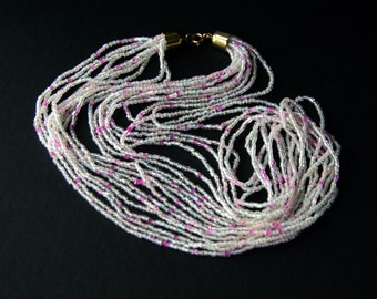 70s Multi Strand Glass Bead Necklace Czech White Rose Pink Boho Jewelry