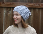 knit cabled chunky slouchy hat || Drew Hat || Pewter