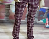 60cm Burgundy Plaid pants SD/SD13 BJD