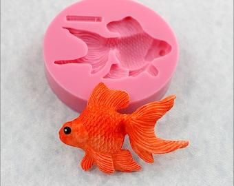 Goldfish Silicone Mold Fondant, Resin, Polymer Clay, Wax, Sugar Craft (355)