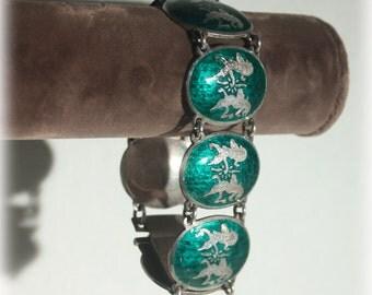 Sterling Bracelet, Green Bracelet, Siam Sterling, Dancing Goddess, Mekhala, Oval Panel, Link Bracelet, Silver Bracelet