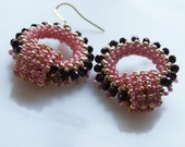Romantic Boho Chic circle Hoops earring tiny purplepink gold seed beads Toho finished with gold plated hooks.