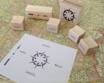 compass - set of six wood mounted rubber stamps by Mary C. Nasser for RubberMoon -MN1
