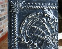 "Genuine Antique Ceiling Tile -- 12"" x 12"" --  Distressed Black Paint -- Unique Design"