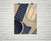 Guitar Poster, Guitar Photography Print, Guitar Strings Art, Large Guitar Print, Oversize Wall Art, Instrument Print, Acoustic Guitar Print