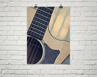 Guitar Poster, Guitar Photography Print, Guitar Strings Art, Large Guitar Print, Oversize Wall Art, Instrument Print, Acoustic Guitar Print