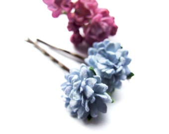 Blue Flower Bobby Pins, Romantic Floral Bobby Pins, Flower Girl Hair Pins, set of 2