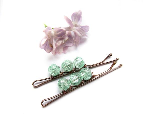 Pale Blue Mint Bobby Pins, cute, mint, retro, vintage style bobbin pins, set of 2