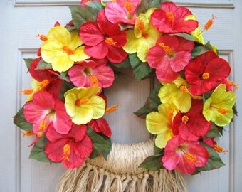 Hawaiian Luau Wreath, Tropical Party Decor, Pink Yellow Red Hibiscus Wreath, Flower Wreath, Beach Decor, Pool Party Decor